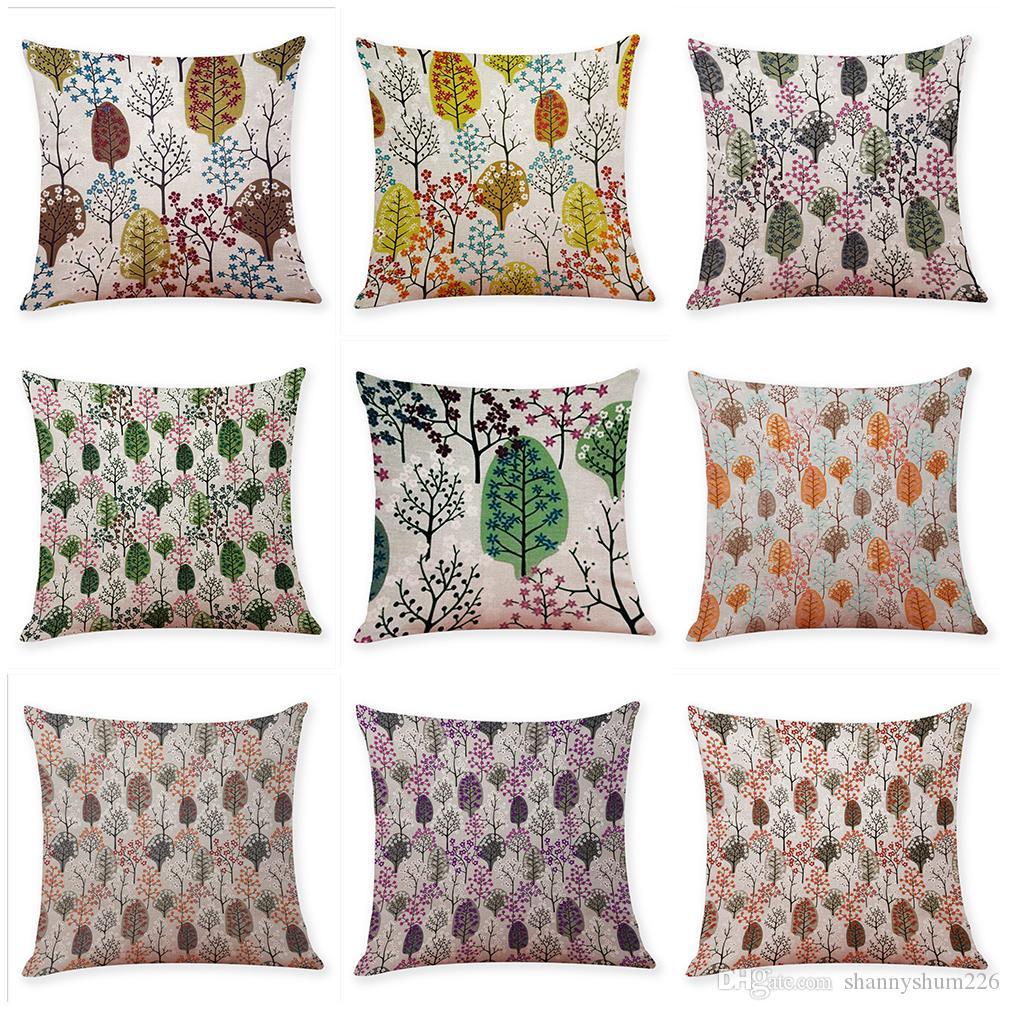 Novelty Leaves Linen Cushion Covers Home Office Sofa Square Pillow Case Decorative Pillow Covers Without Insert (18*18Inch)