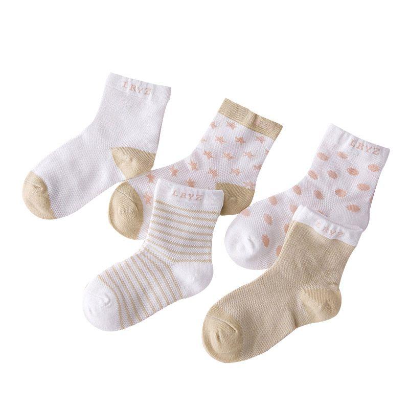 5 Pairs Socks Set Baby Boy Girl Cotton Cartoon Candy Colors Dot, breathable, stylish Socks Infant Toddler Kids Soft Sock