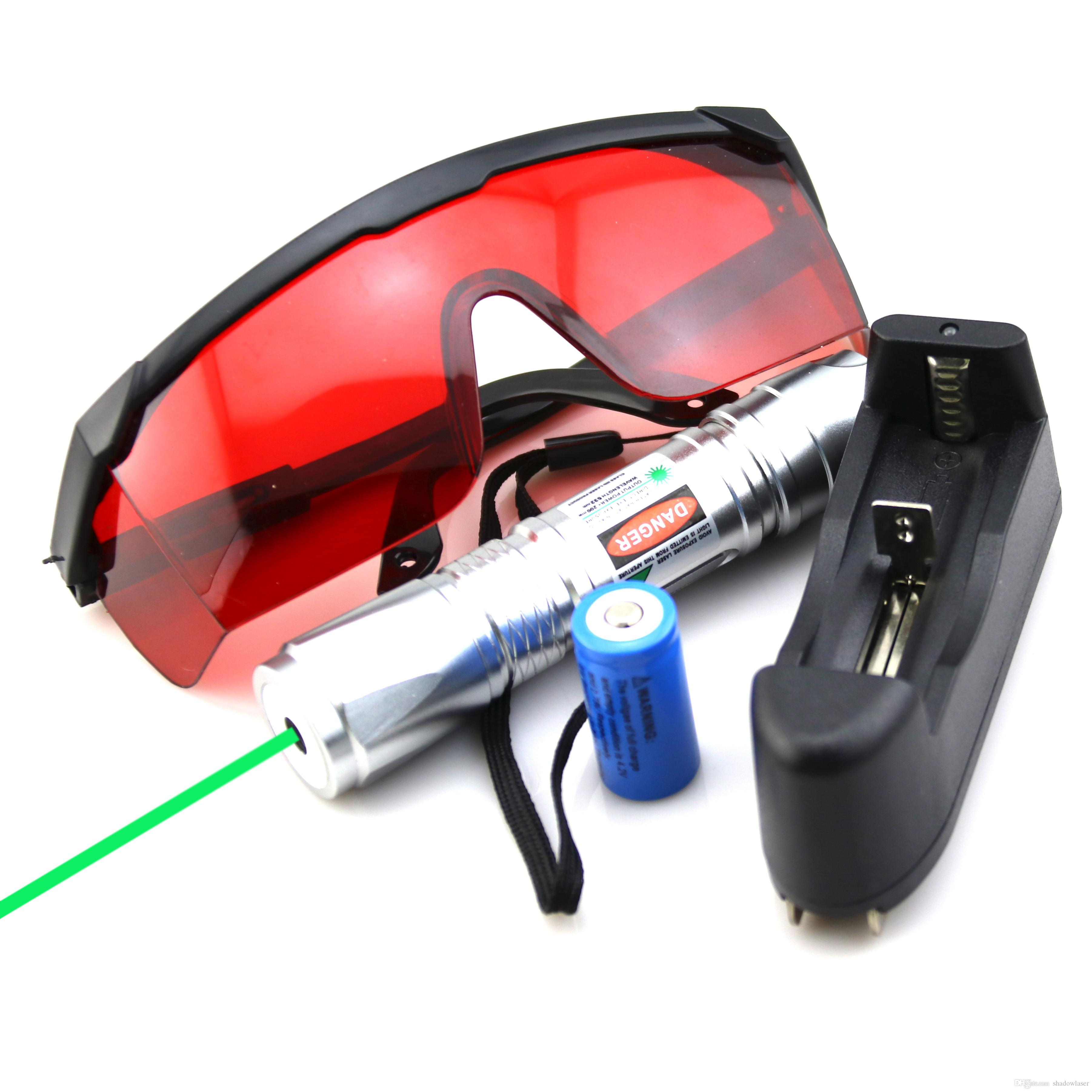 SDLasers GS6-0100 Silver Adjustable Focus 532nm Green Laser Pointer With 1*16340 Li Battery & Charger & Goggles Funny Pet stick