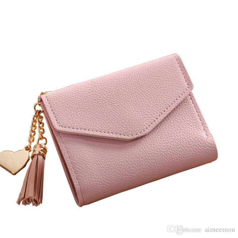 2018 new fashion solid tassel women wallet for credit cards small luxury leather short womens mini wallets and purses zipper&hasp
