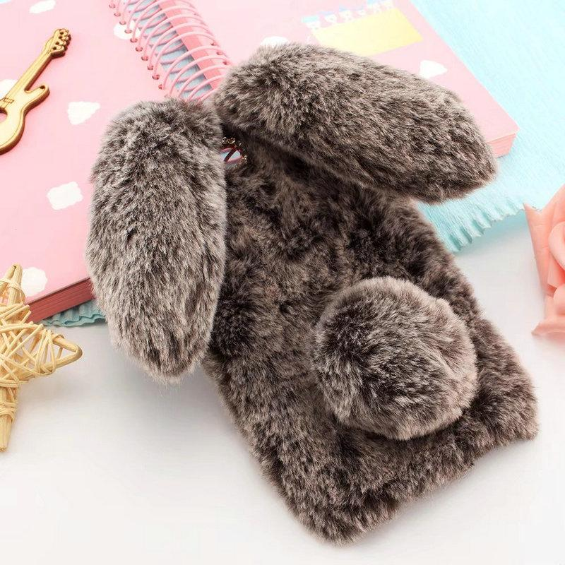 Cute Doll Hairy Rabbit Fur Warm Case For oneplus 5 5T 6 Case Bling Diamond TPU Cover for One plus 5T 5 6 Capa Winter Soft Coque