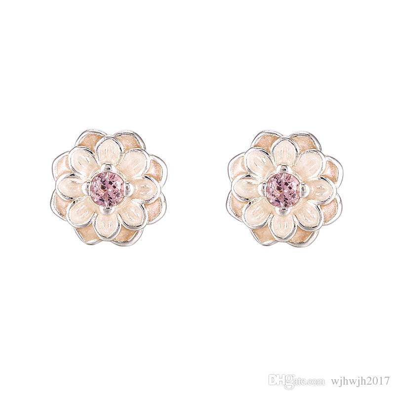 2018 Summer New Authentic 925 Sterling Silver Earring Blooming Dahlia With Crystal Studs Earrings For Women Wedding Gift Fine Jewelry