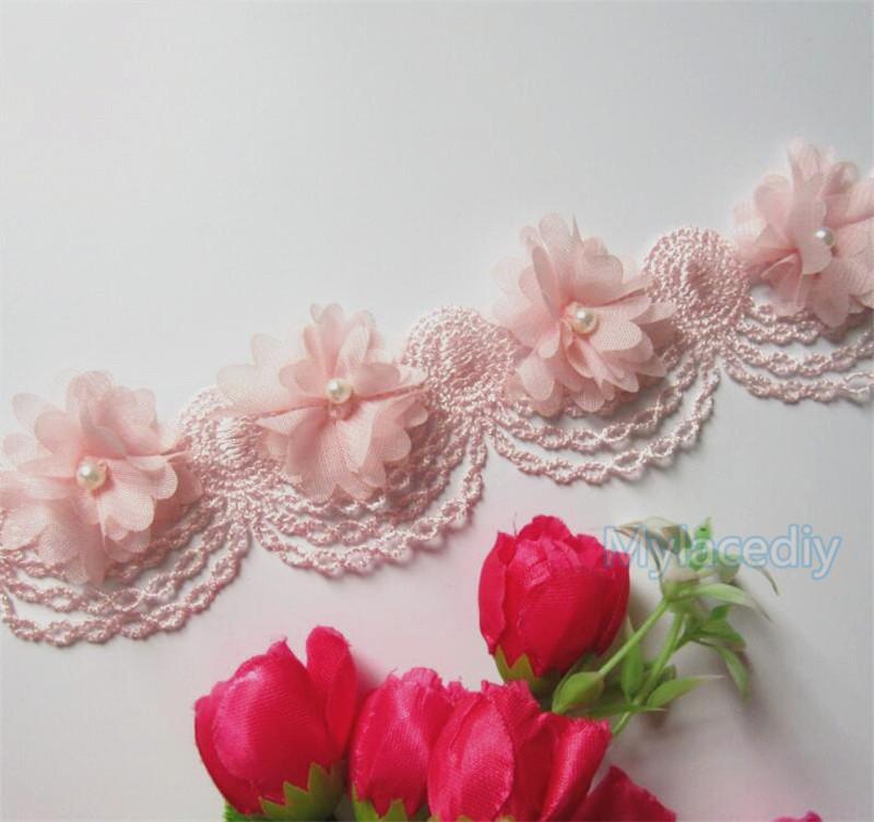 Новый дизайн 50x розовый Pearl шифон цветок Вышитые кружева края Обрезка ленты Цветочные аппликация ткани ручной работы Свадебное платье Шитье Ремесло