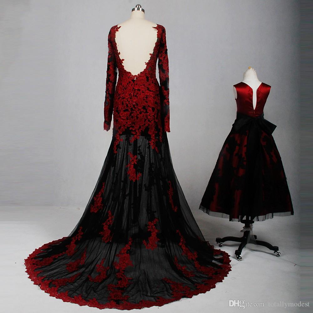 Red And Black Gothic Wedding Dresses Mermaid With Long Sleeves V Neck Sheer Skirt Mother And Daughter Colorful Bridal Gown Online Wholesale Wedding Dress Big Ball Gown Wedding Dresses From Totallymodest 105 29