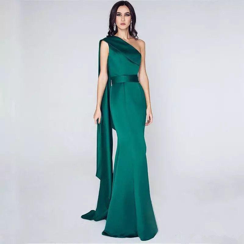 진한 녹색 한 숄더 새틴 인어 이브닝 드레스 2020 유명 인사 긴 댄스 파티 바닥 길이 파티 드레스 우아한