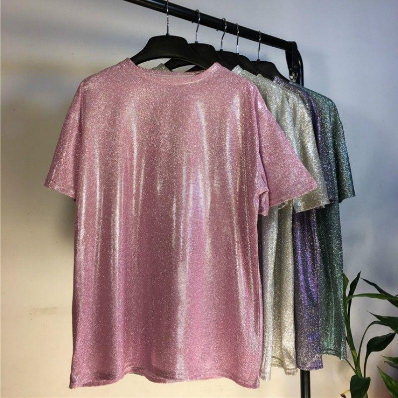 Women Loose Shiny Pullover T Shirt Short Sleeve Metallic Glitter Sparkly Students Tops Shirt Solid Colo Fashion Casual Clothes