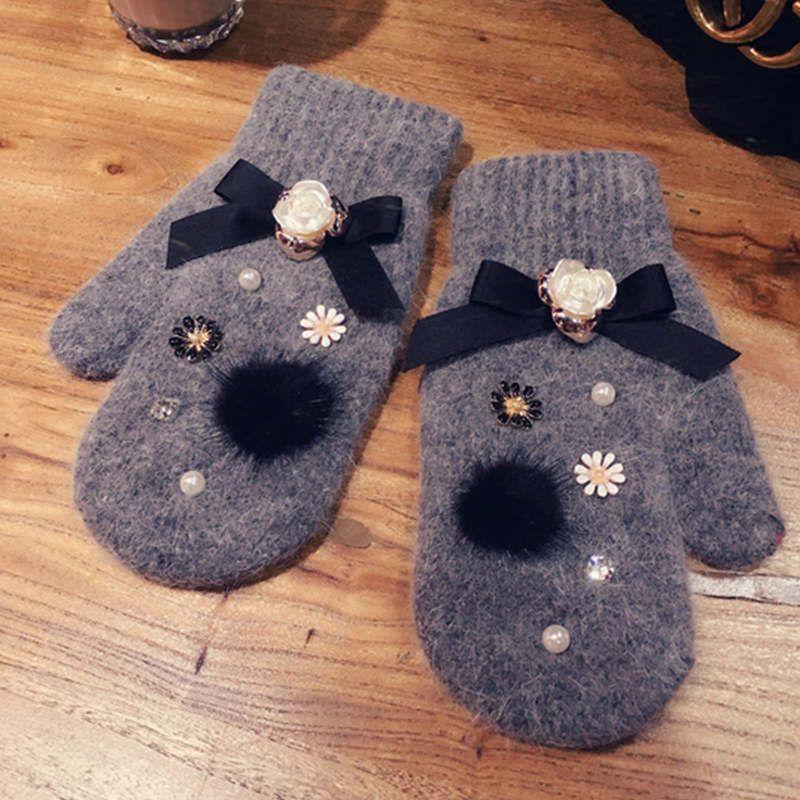 BowknotRhinestone-Vollfinger-Handschuhe hohe Qualität dicke weiche warme Winterhandschuhdamen elegantes Büro guantes Luvas Geschenk mujer