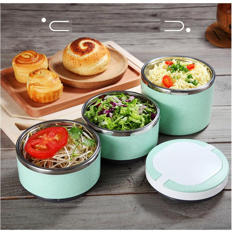 Insulated Thermal Bento Box Japanese Style 304 Stainless Steel Lunch Boxs Portable Food Container Whit Bag Dinnerware Sets 20
