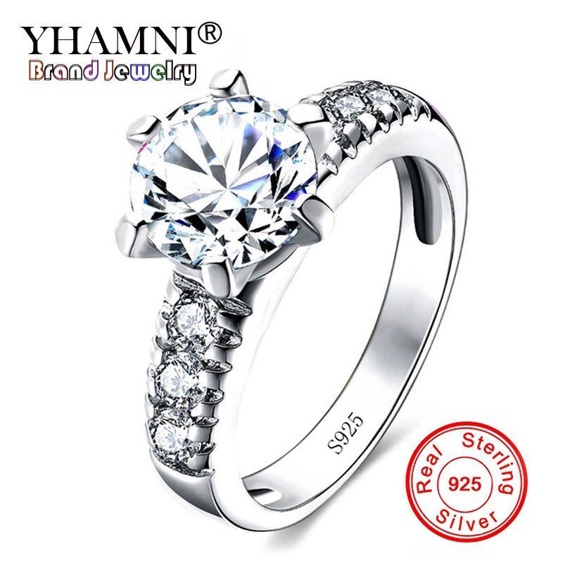 YHAMNI Joyería Fina Genuino 925 Sólido Conjunto de Anillos de Plata Blanco Natural Circonio Zirconia Diamond Band CZ Engagemen Anillos para Mujeres Niñas LR68