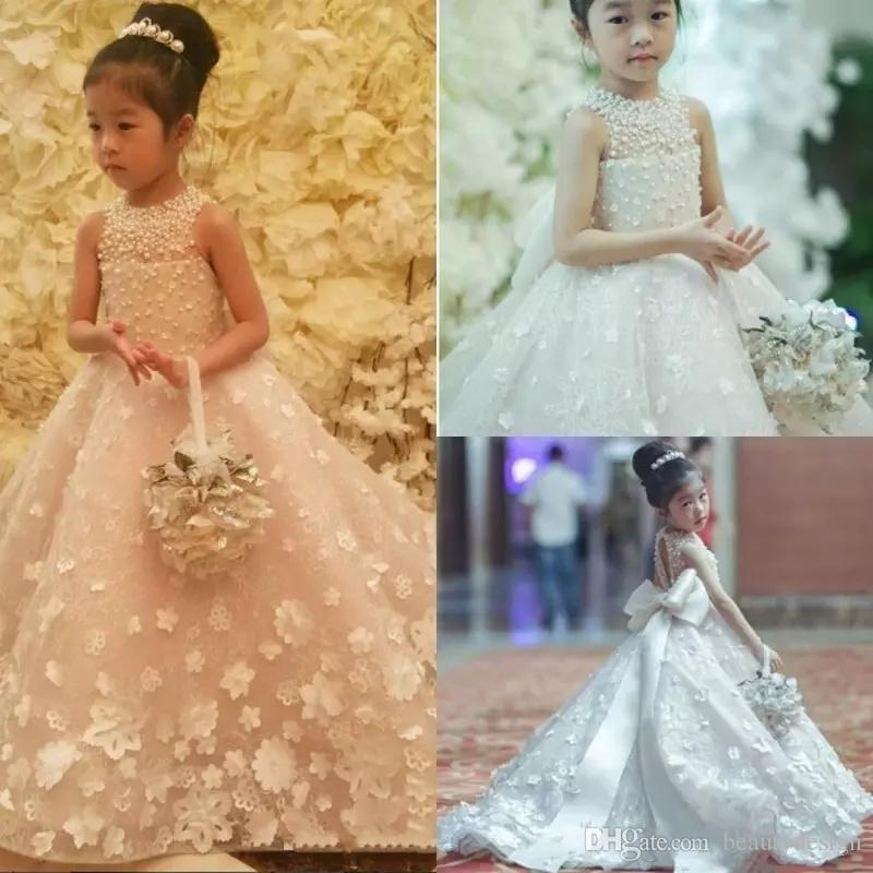Espagueti lindo Hecho a mano Vestidos de las muchachas de flor Arco de la correa Grano Princesa Niños Longitud del piso Vestido de dama de honor Chica Vestido de bola del desfile
