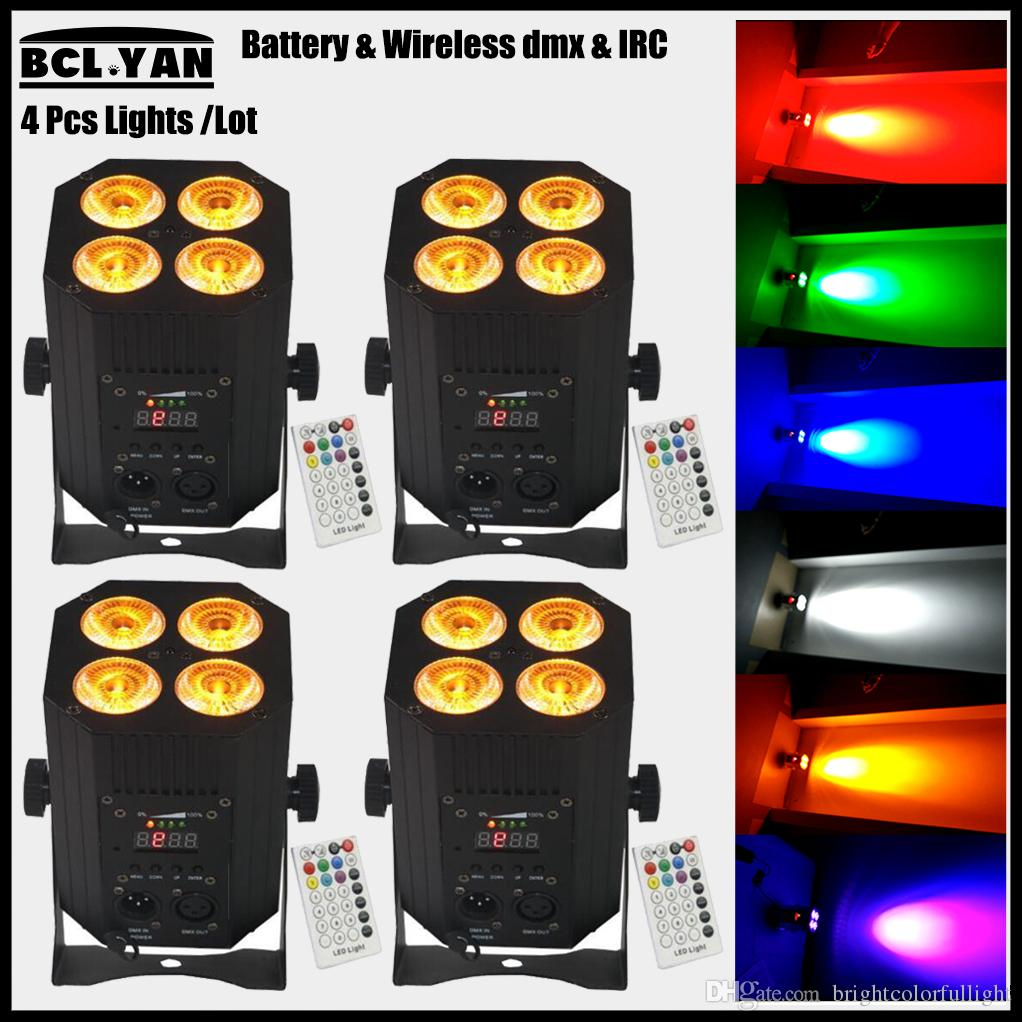 Professional Hex 4 18w RGBWA UV 6 IN 1 PAR Wireless DMX LED Stage Lighting Effect Battery Wireless DMX512 Remote Free shipping