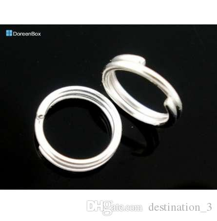 Doreen Box Lovely 400 PCs Couleur Argent Double Loops Anneaux Sauts 8mm Dia. Constatations (B04161)