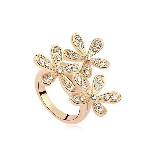 Star With Ring Crystal Fully-jewelled Snow Ring Concise Sweet Hand Ornaments