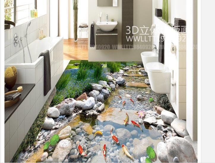 Роспись пола 3D обои Парк Стоун Крик Кальмар Ванная комната 3D Полы Фреска-3d Обои ПВХ Самоклеящиеся Полы Обои-3d