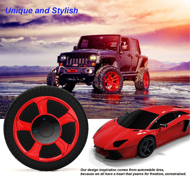 Coche deportivo Neumático Bluetooth Altavoz portátil Montar en forma de rueda Altavoz con micrófono Soporte TF Tarjeta Reproductor de MP3 bicicleta neumáticos para exteriores Subwoofer