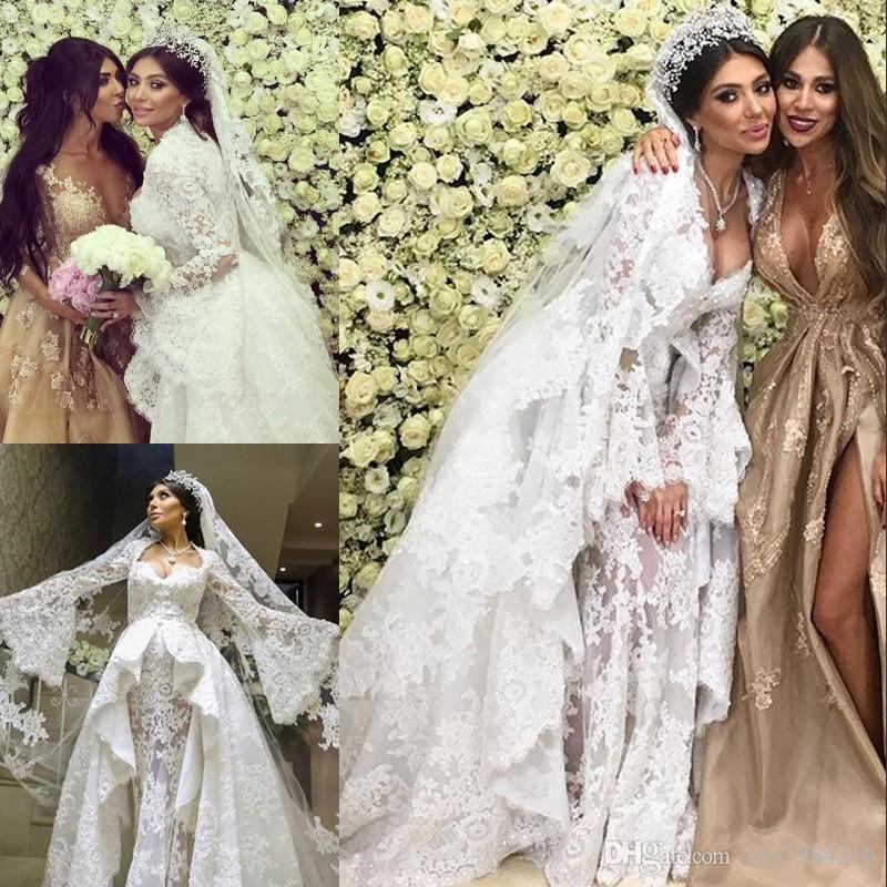 Sexy Open Sweetheart Wedding Dress With Overskirt Beads Lace Appliques Long Sleeve Dubai Bridal Dress Glamorous Tulle Mermaid Wedding Dresse