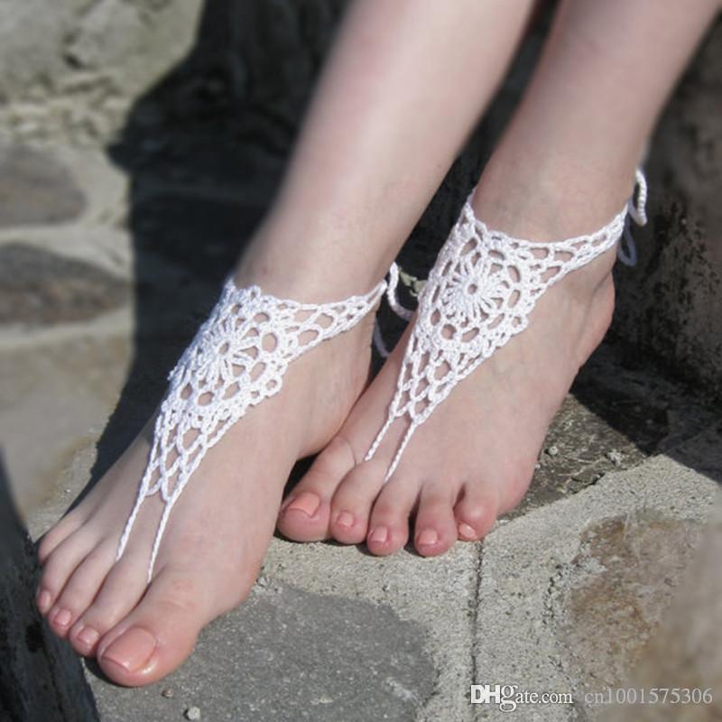Boda en la playa Mano blanca Crochet Sandalias descalzas, zapatos desnudos, joyería del pie, nupcial, encaje victoriano, tobillera ..