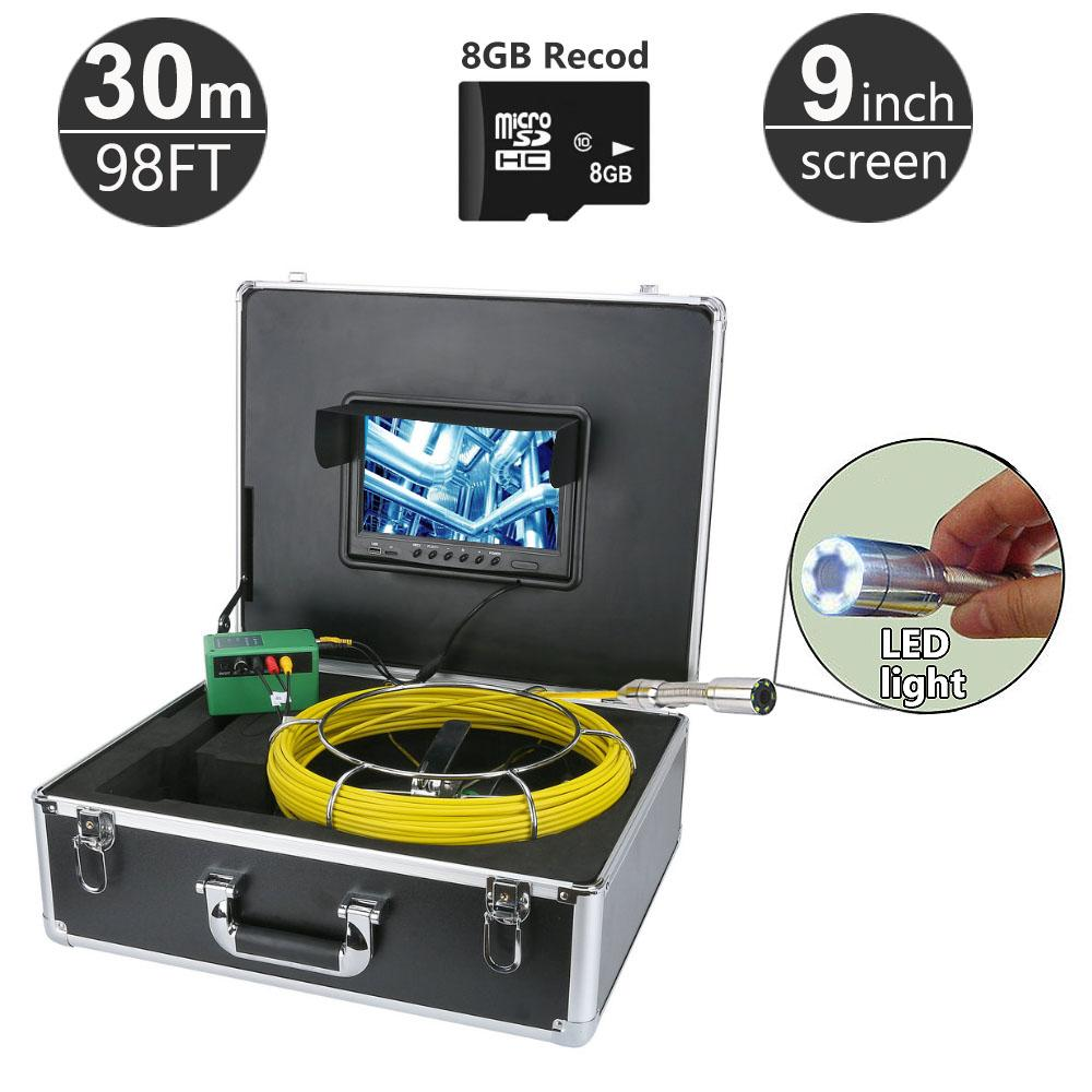 30M/98ft Sewer Pipe Inspection Camera System 9inch Monitor 1000TVL Snake Drain Waterproof Video Camera 8GB Card Record DVR Function