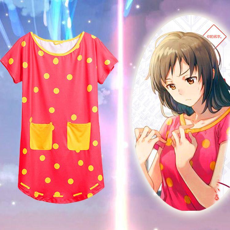 Bir Boyut Japonya Anime Kiminonawa Adınız Miyamizu Mitsuha Kız Gömlek Cosplay Kostüm Giydirme Pijama Takım Gecelik
