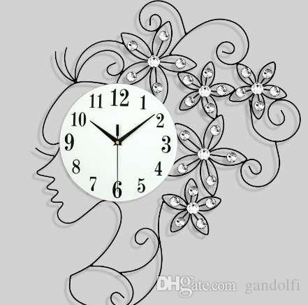 65 * 50 سنتيمتر الأوروبي الإبداعية الجميلة فتاة الحديد الفن غرفة المعيشة ساعة الحائط الحديثة الديكور الساعات