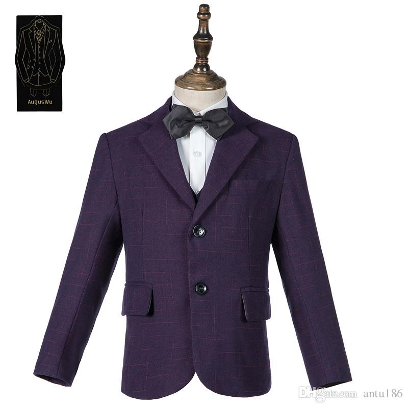 High-grade wool blend boy suit three-piece suit (jacket + pants + vest) boy fashion handsome party dress support custom