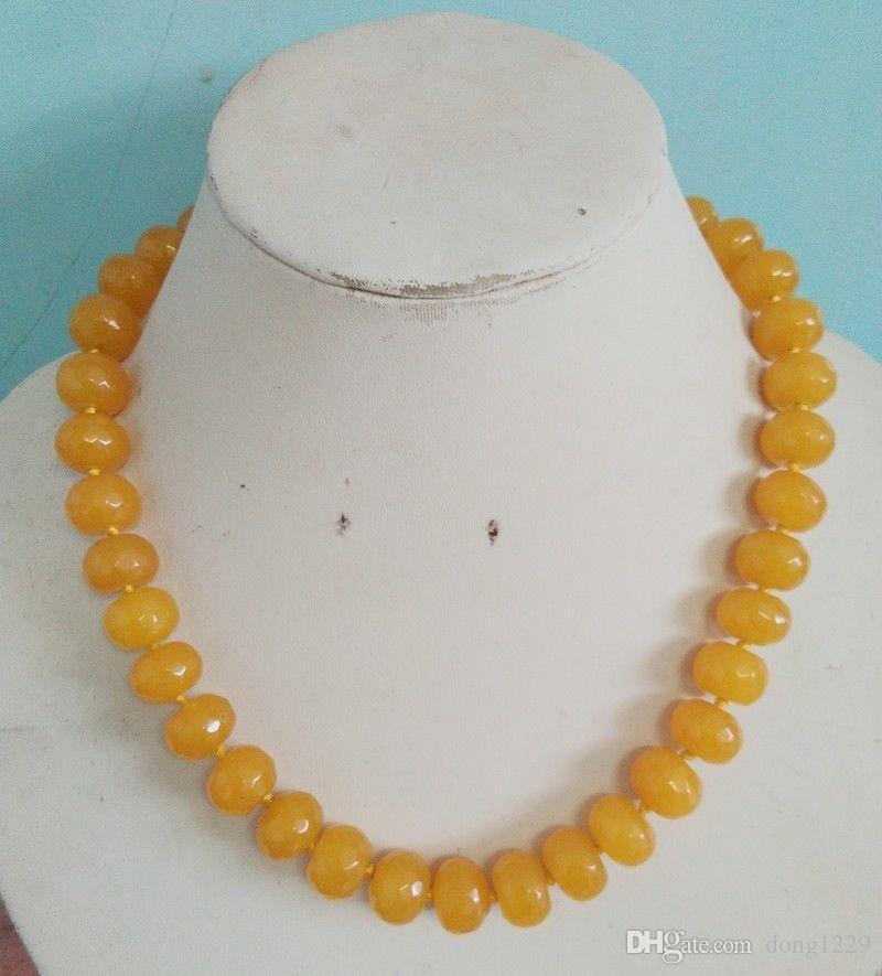 Collana con gemme di giada gialla sfaccettata 10x14mm, 18 pollici