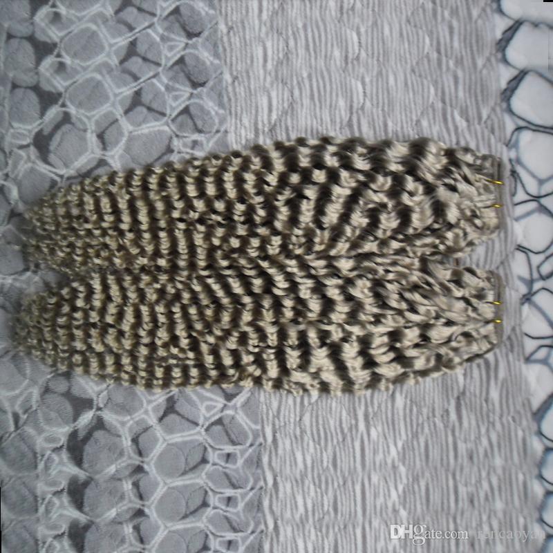 """Extensões de Cabelo Cinza de prata 200g kinky curly virgem brasileiro tecer cabelo pacotes 10 """"- 60 polegada Brasileira Tecer Cabelo Bundles 2 pcs"""