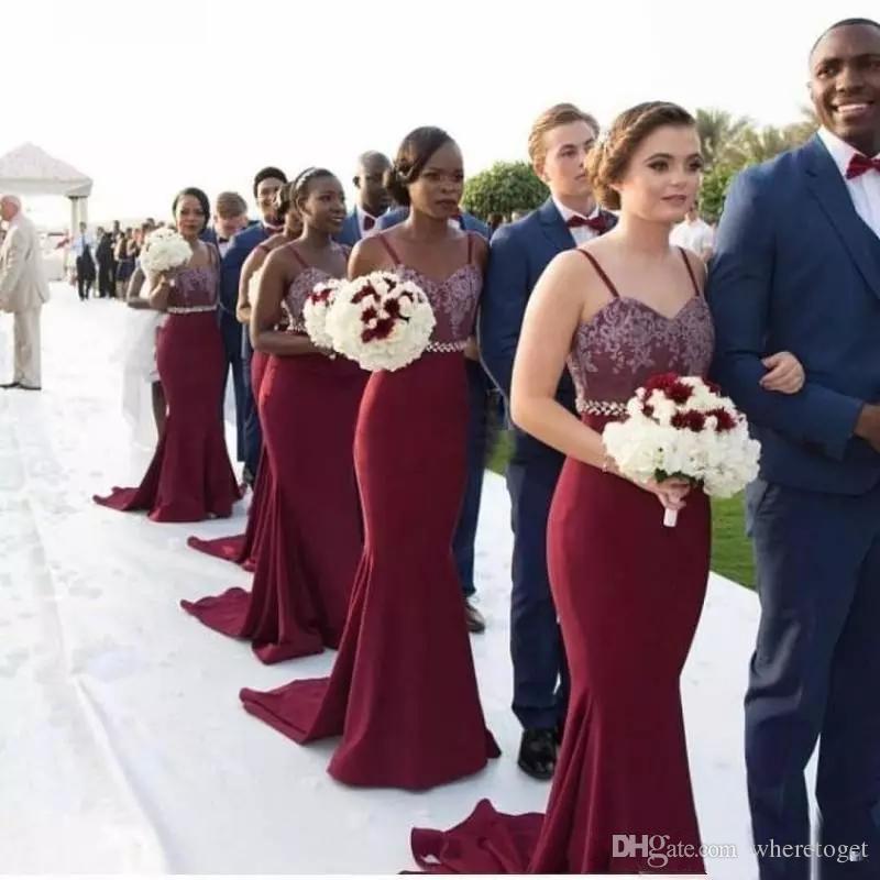 Compre Barato 2019 Nueva Borgoña Largo Vestido De Dama Apliques De Encaje De Cuentas Sirena De La Cintura Criada De Los Vestidos De Huésped De La Boda