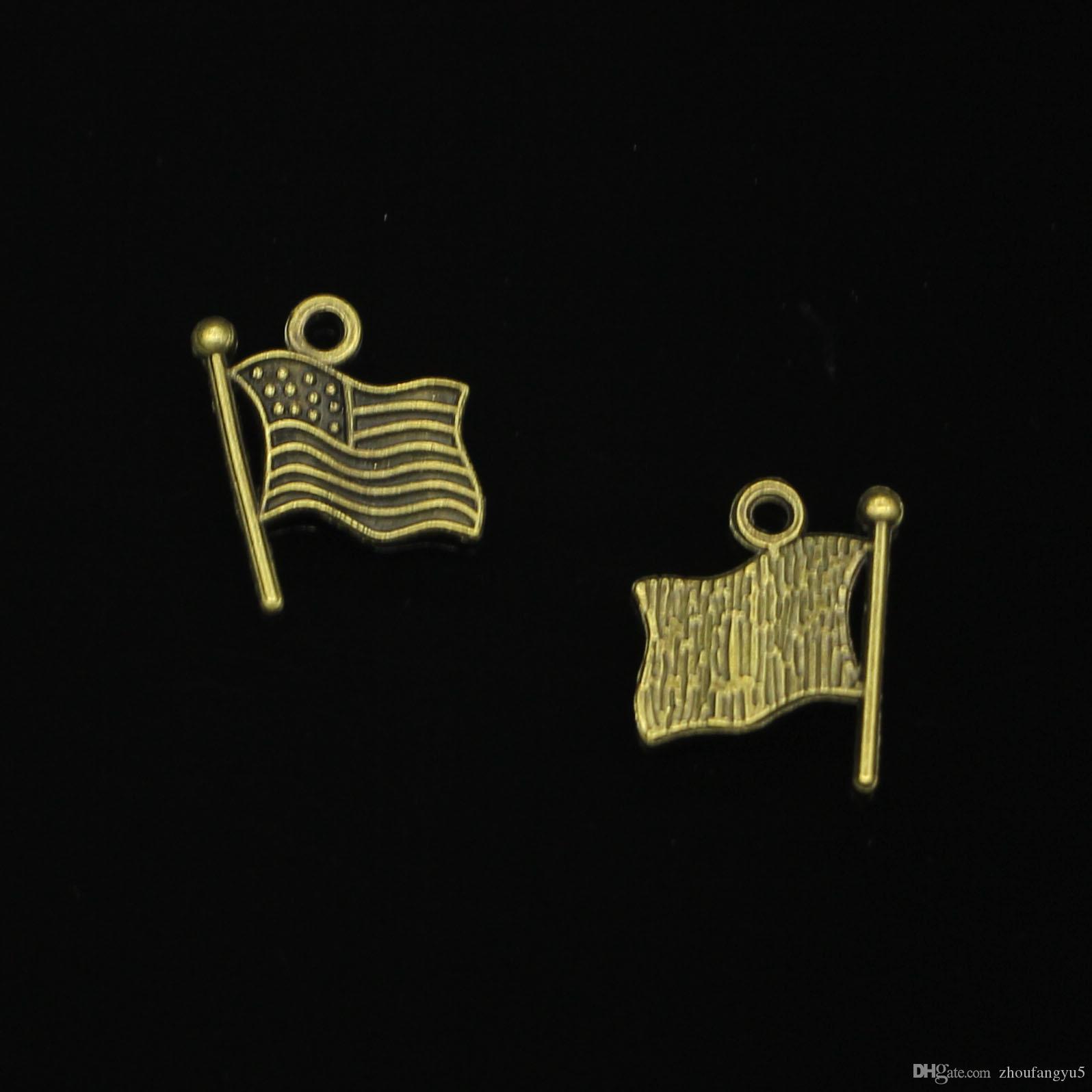 133 pcs liga de zinco encantos antique bronze banhado eua bandeira encantos para fazer jóias diy handmade pingentes 12mm
