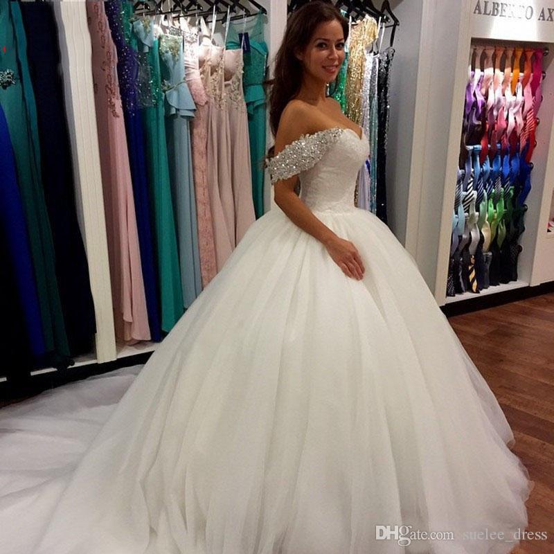 2018 nuovi abiti da sposa Ballgown Sexy fuori dalla spalla Paillettes Tulle su misura Abito da sposa abito da sposa abito da sposa Vestido De Novia