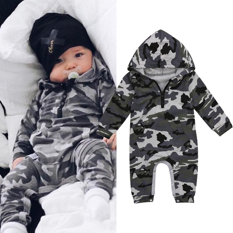 Baby boy camouflage toddler hooded jumpsuit rompers clothes long sleeve zipper bodysuit playsuit baby boy casual sport clothing 0-24M