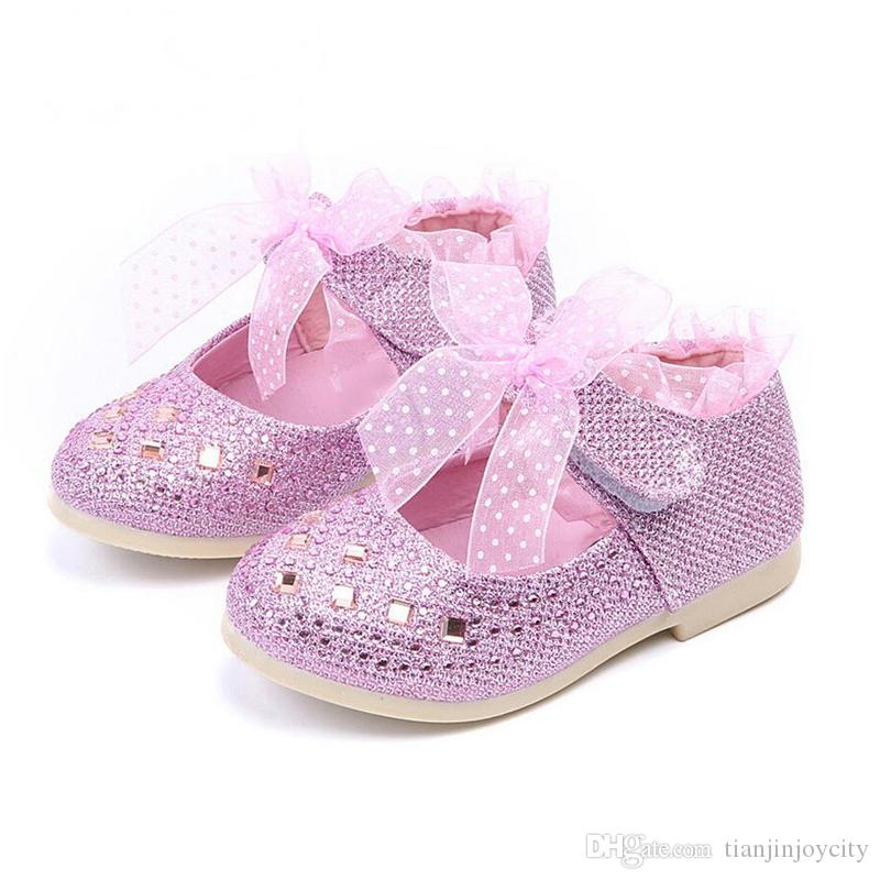 girls shoes Fashion Princess party Flat Soft Closed Toe bowknot Kids Dress shoes Cut-outs Baby Toddler Girl pink Silver sneakers
