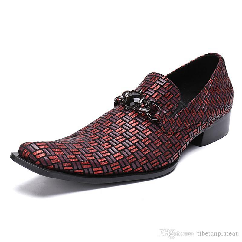 Artı Boyutu Lüks Sivri Burun Metal Trim Adam Resmi Elbise Loafer'lar Hakiki Deri El Yapımı erkek Düğün Modern Ayakkabı SL282