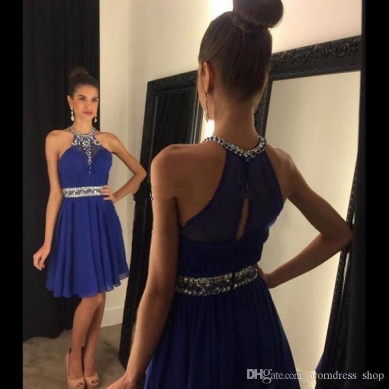 Free Shipping Modest Halter Short Royal Blue Homecoming Dresses Beaded Rhinestones Cocktail Party Gowns A Line Chiffon 8th Grade Graduation