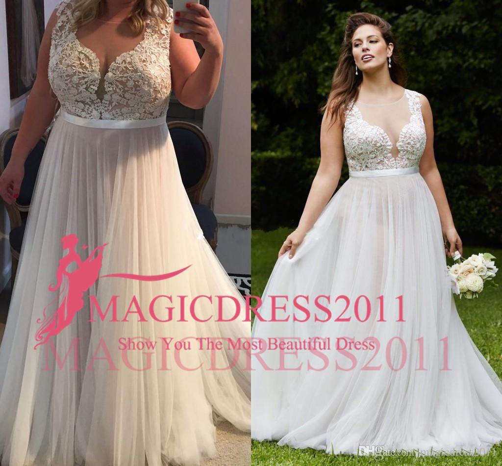 2019 Vintage Lace Country Plus Size Robes de mariée Sheer col V Une ligne Tulle mariage robe de mariée pas cher Fait sur mesure balayage train