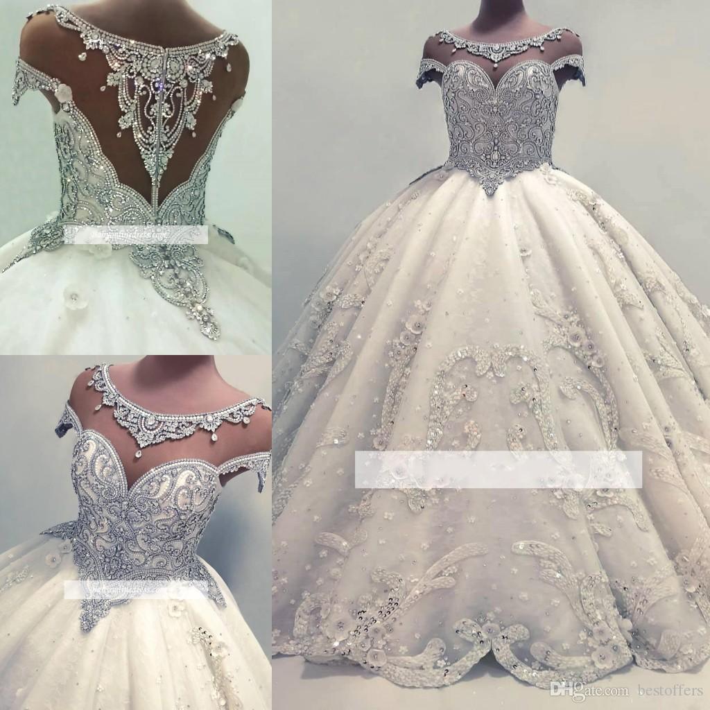 Vestidos De Noivas Lindos Vestido De Novia De Luxo Cap Mangas Vestido De Baile Vestidos De Casamento 2019 Cristais Brilhantes Brilhantes Lantejoulas