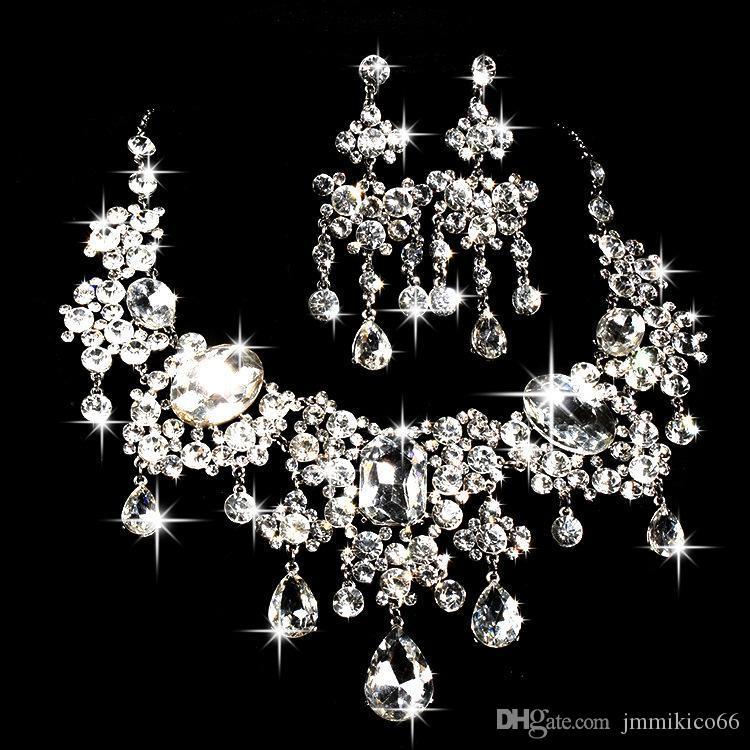 Bridal Necklace Earrings two pieces of water drill flowers new ornaments Wedding Jewelry