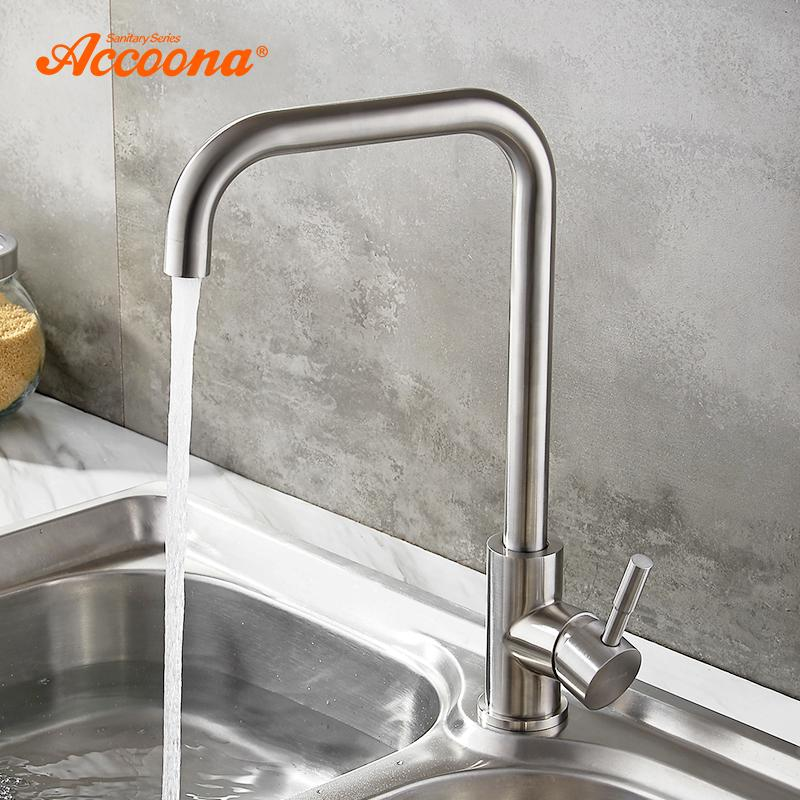 wholesale Stainless steel Kitchen Faucet Single Handle Single Hole Mixers Sink Tap Wall Brushed Faucet Hot and Cold Water A4490