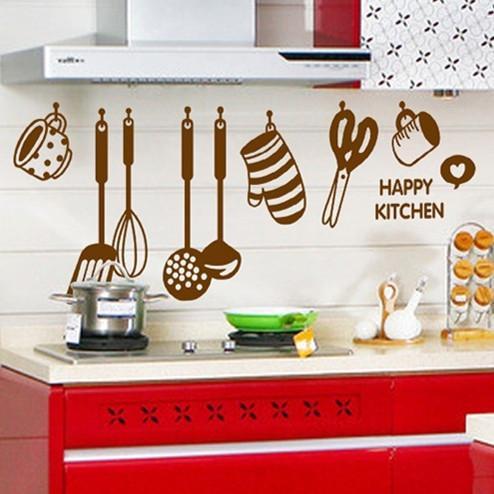 Cartoon kitchen wall stickers environmentally friendly removable kitchen decorative stickers monochrome PVC transparent film wallpaper