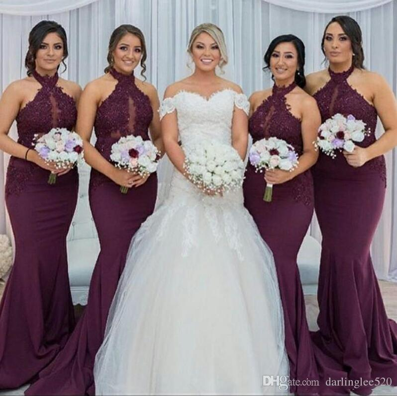 Compre Burdeos Vestidos De Dama De Honor Sirena Halter Satén Barrido Tren Apliques Encaje 2019 Noche De Baile Vestido árabe De Dama De Honor Vestido