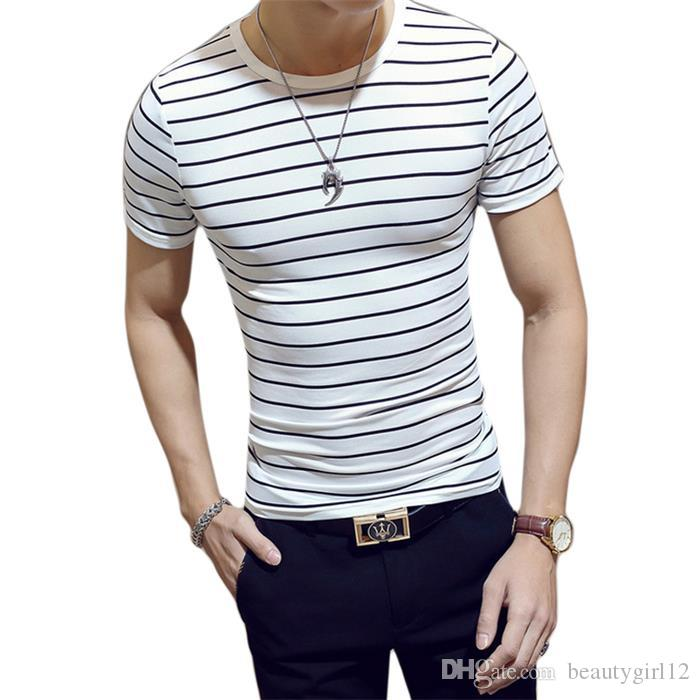 2018 new Men T shirt Fashion O-neck Short sleeve Slim Fit Black and White Plus Size Striped T-Shirt Man Top Tee