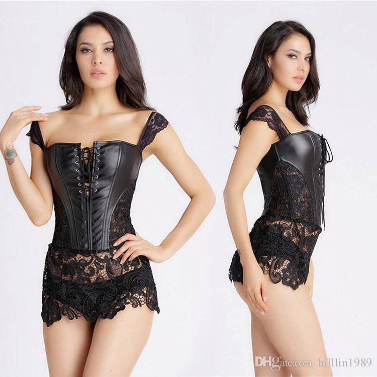 Black Gothic Lace Steampunk Corset Burlesque Korset Beyonce Lace Up Front Faux Leather Sexy Woman Bustiers