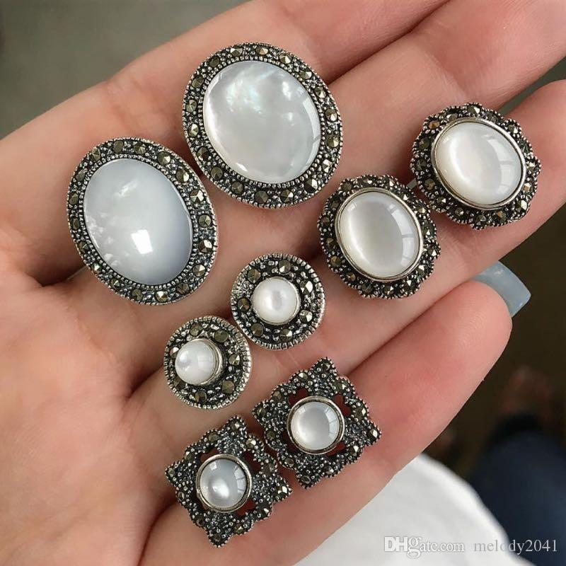 Vintage minimalistische Gestüt Big Kiesel- und Zirkon-Mode-Ohrringe eingestellt mit 4 Paare Ohrring Großhandel