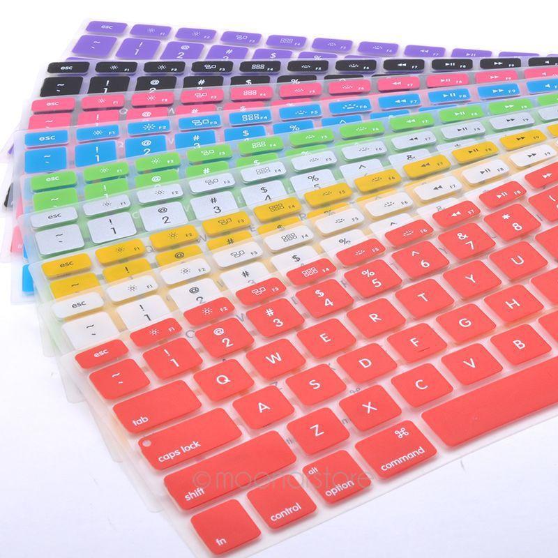 غطاء لوحة المفاتيح سيليكون لابل ماك بوك برو ماك 13 15 الهواء 13 لينة ملصقات لوحة المفاتيح 9 ألوان