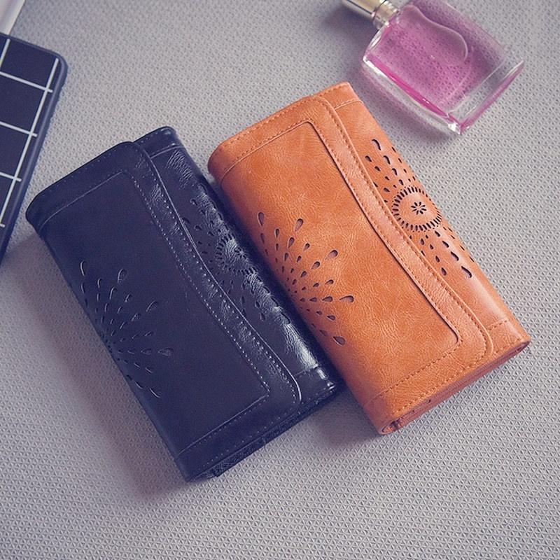 Women Classic Retro Wallet Solid Color European Style Wallet Fashion Handbag Purse For Women Lady