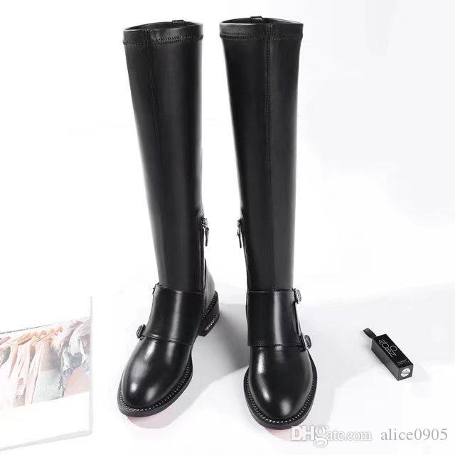 [Original Box] Luxury Tops Womens Knee Thigh High Boots Chain Bottoms Motorcycle Knight Shoes Black Size 35-40