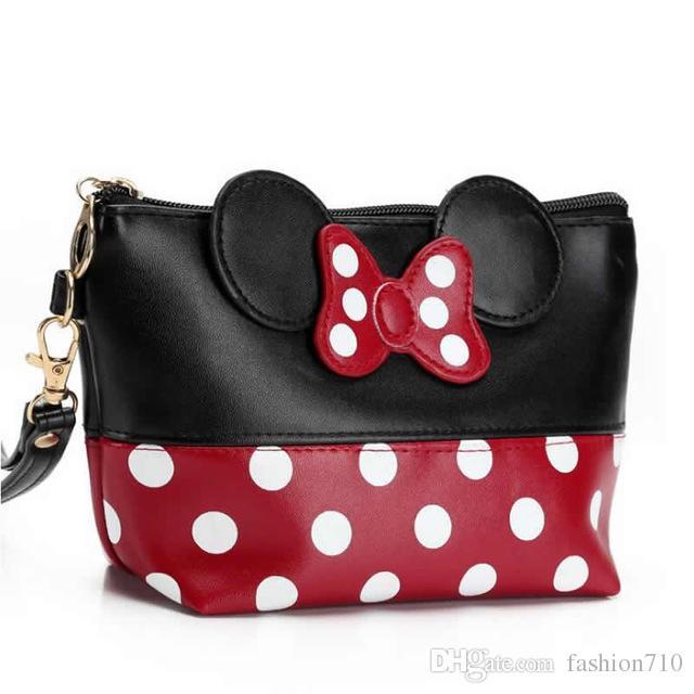 New Travel Cosmetic Bag Bow dos desenhos animados Makeup Caso Mulheres Zipper Hand Holding Marca Up Handbag Organizer Bolsa de armazenamento de Higiene Pessoal Lavar Bags