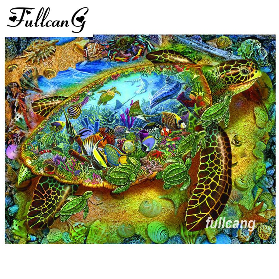 DIY Round Diamond Painting Kits for Adults Full Drill Cross Stitch Hat Turtle Home Decoration 40x30CM