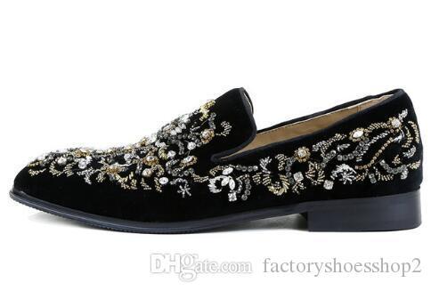 Nuovi uomini del progettista di marca Scarpe di cristallo Moda in pelle scamosciata diamante scarpe casual Mocassini matrimonio e partito taglia 38-46