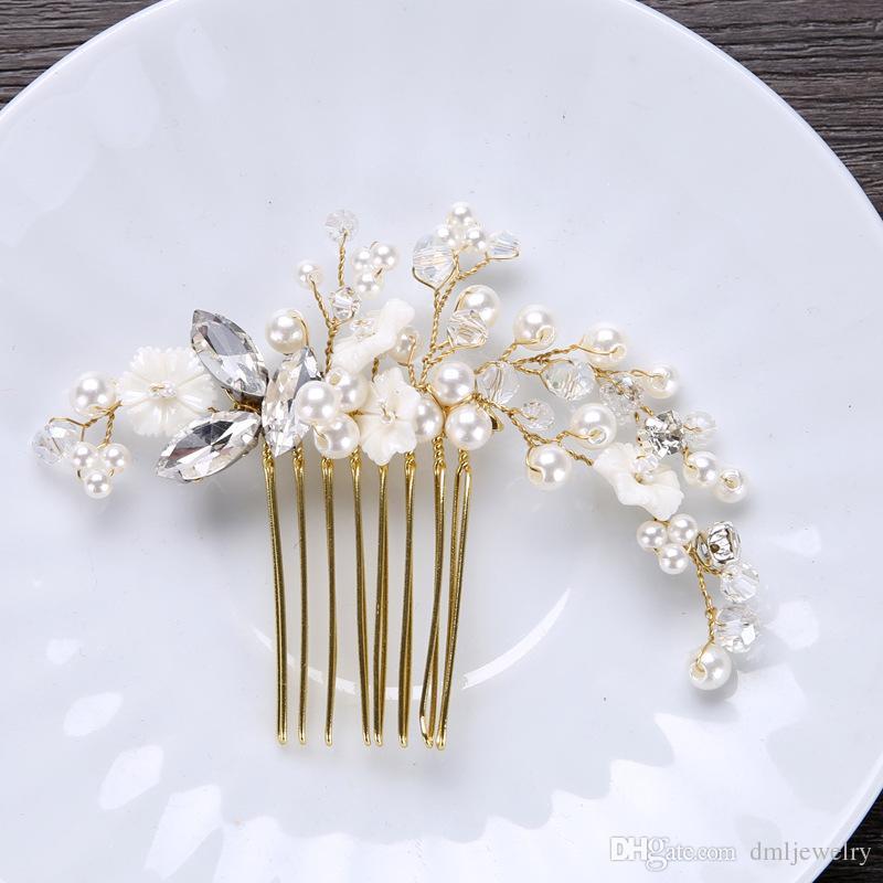 European Bridal Wedding Hair Combs Pearls Crystal Bridal Hair Comb Flower Rhinestone Gold Headpieces Wedding Dress Hair Jewelry Accessories
